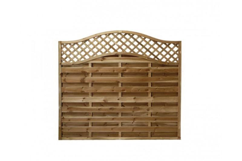 European Fence Garden Panel 6 x 3 Omega Decorative Lattice Top Pressure Treated