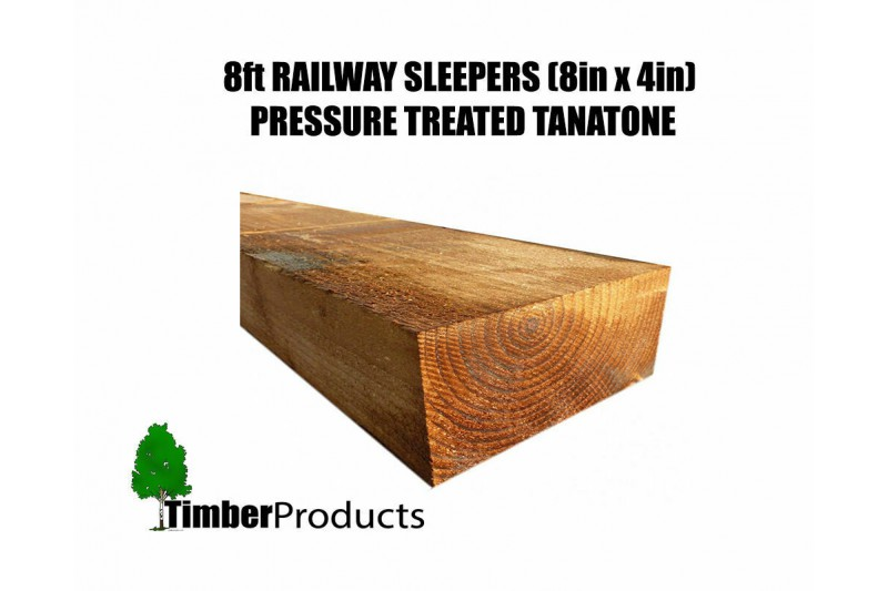 (PACK OF 10) 8ft Railway Sleepers Pressure Treated (200mm x 100mm x 2400mm)
